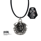 Grim Reaper Stainless Steel Pendant with Black Leather Cord