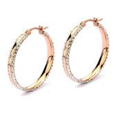 Ferido Setting Crystals IP Rose Gold Hoop Earrings