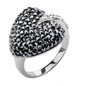 Multi Clear with Black Diamond Gem Heart Ring