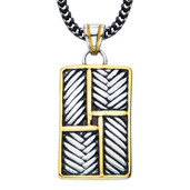 Stainless Steel Gold IP Woven Pendant with 22 inch Chain
