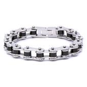 Men's Black IP Motor Chain Design Bracelet