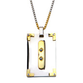 0.03 Carat Sapphire Gem in Two Tone Dog Tag Pendant with Chain