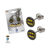 Black Batman Logo Stud Earrings