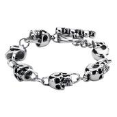 Black Oxidized Skull Link Toggle Bracelet