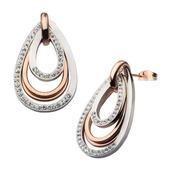Rose Gold IP with Preciosa Crystal Teardrop Dangle Earrings