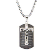 Steel Cross Overlapping with Lord's Prayer Dog Tag Pendant