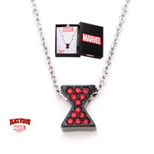 Black Widow Logo with Red CZ Necklace
