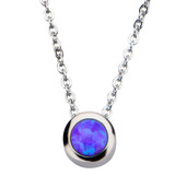 Purple Synthetic Opal Pendant with Chain