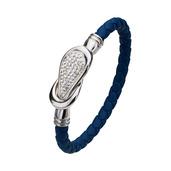 Dark Blue Italian Leather Bracelet
