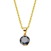 Gold IP and Black CZ Solitaire Pendant with Chain