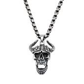 Steel Black Oxidized Open Mouth Horn Skull Pendant