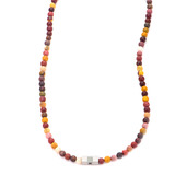 Mookaite Gemstone Stretch Necklace with Steel Accent