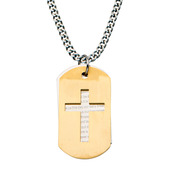 Gold IP Double Dog Tag Pendants with The Lord's Prayer