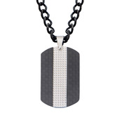 Black IP in Solid Carbon Fiber Dog Tag Pendant with Chain