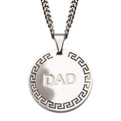 DAD with Greek Key Design Round Pendant with 24 inch Chain