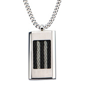Black Cable Inlayed on Steel Dog Tag Pendant with 24 inch Chain