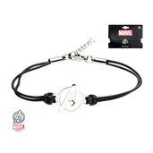 "Avengers ""A"" Logo in Black Leather Cord Bracelet"