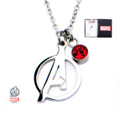 "Avengers ""A"" Logo Cut Out and Red CZ Pendant with Chain"