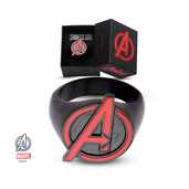 Stainless Steel Black PVD Plated with Red Avengers Logo Ring