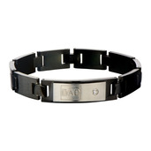 Engraved DAD with Clear CZ's and Black IP Classic Link Bracelet