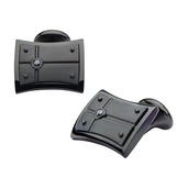Hollis Bahringer Men's Black IP with Black-A 2.5 diamond Cuff Links