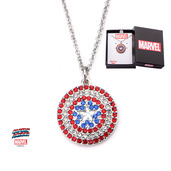 Captain America Shield Multi-Gem Logo Pendant Necklace