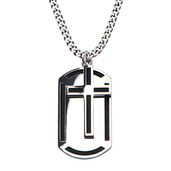 Black Cable Inlayed Overlapping on Dog Tag Pendant with 24 inch Chain