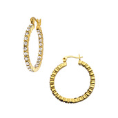 In and Out Crystal IP Gold Matte Hoop Earrings