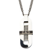 Engraved DAD with Black CZ Long Dog Tag Pendant with Chain