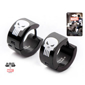 Black IP Punisher with White Accents Earrings