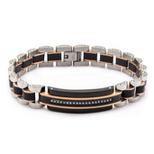 Tri-Tone with Solid Carbon Fiber and Clear CZ ID Link Bracelet
