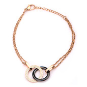 Rose Gold IP Double Circle Black Ceramic with CZ Bracelet