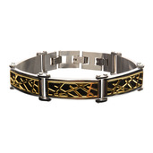 Black and Gold IP Crown of Thorns Design Link Small Bracelet