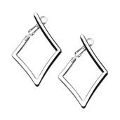 Steel Diamond Hoop Earrings