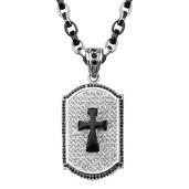 Black Onyx Cross Crystal Dog Tag