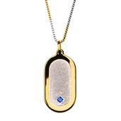 Sandblast with Sapphire Gem Gold IP Dog Tag Pendant with Chain