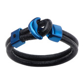 Double Black Leather with Steel Blue IP Anchor Clasp Bracelet