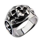 Stainless Steel Skull Back Cross Bone Middle Side Ring