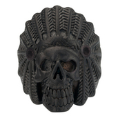 IP Black Chief Indian Skull Head Ring