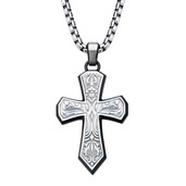 Hollis Bahringer Bold Ornate Texture Cross Pendant  with Chain