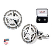 Stainless Steel Marvel Captain America Logo with 3D Star Cufflinks