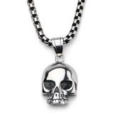 Steel Black Eye Open Jaw Skull Pendant