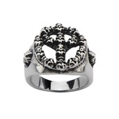Steel Black Oxidized Peace Sign Skull Ring