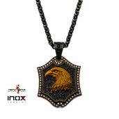 Black IP Tiger Eye Eagle and CZ Dog Tag Pendant with Rolo Chain