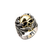 IP Gold Skull Wrapped w/ Black Oxidized Wings Ring