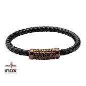 Black Leather Bracelet with Cappuccino IP Patterned Magnetic Buckle