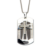 Mens Inlayed Black IP  Dog Tag Pendant  with Chain