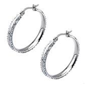 Ferido Settings Clear Crystals Edge 31mm Hoop Earrings