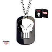 Cutout Punisher Overlapped on Black IP Dog Tag Pendant with Chain