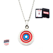 Captain America Shield and Clear CZ Pendant with Chain